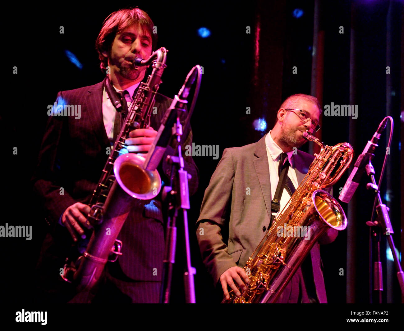 BARCELONA - JAN 9: The Limboos (Rhythm and Blues band) performs at Apolo venue on January 9, 2015 in Barcelona, - Stock Image