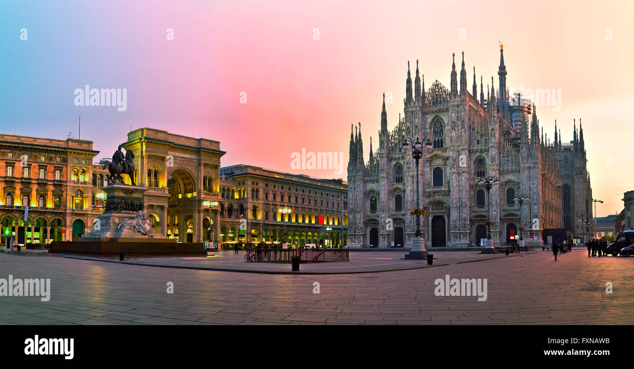 Duomo cathedral early in the morning in Milan, Italy - Stock Image