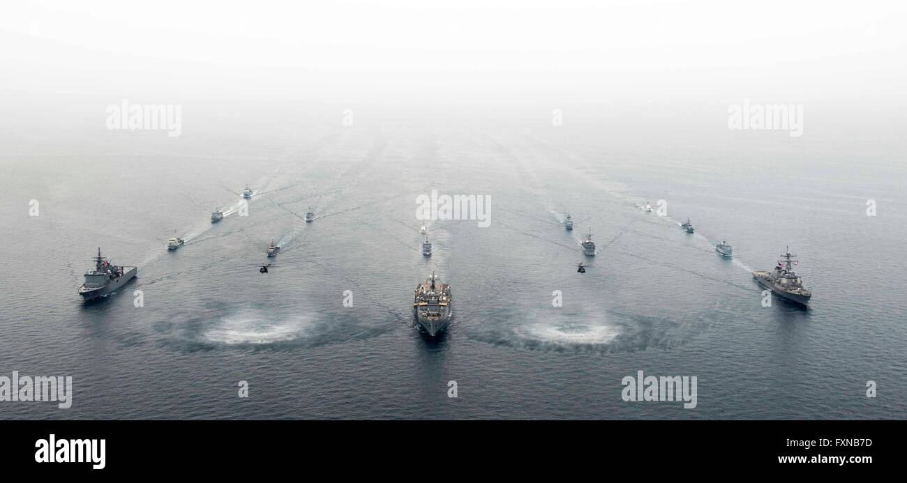 Partner Navy ships led steam in formation during International Mine Countermeasures Exercises April 12, 2016 near - Stock Image