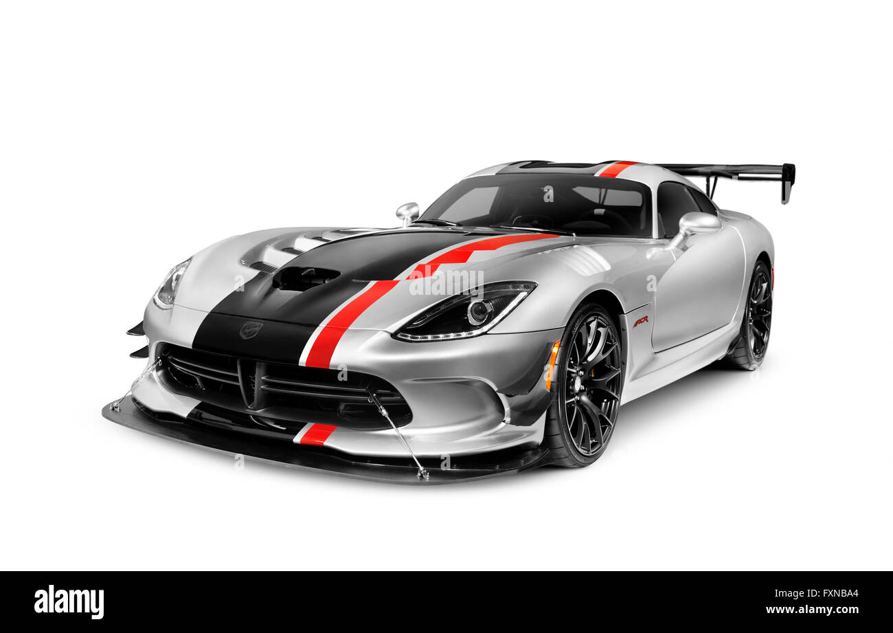 2016 Dodge Viper ACR sports car super car isolated on white background with clipping path - Stock Image