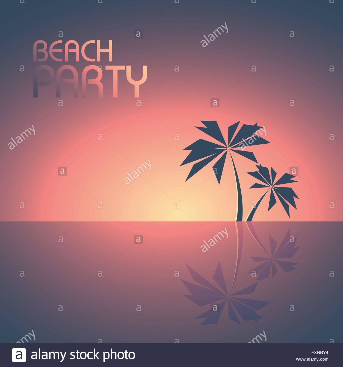 beach party poster template with palm trees on the horizon vector
