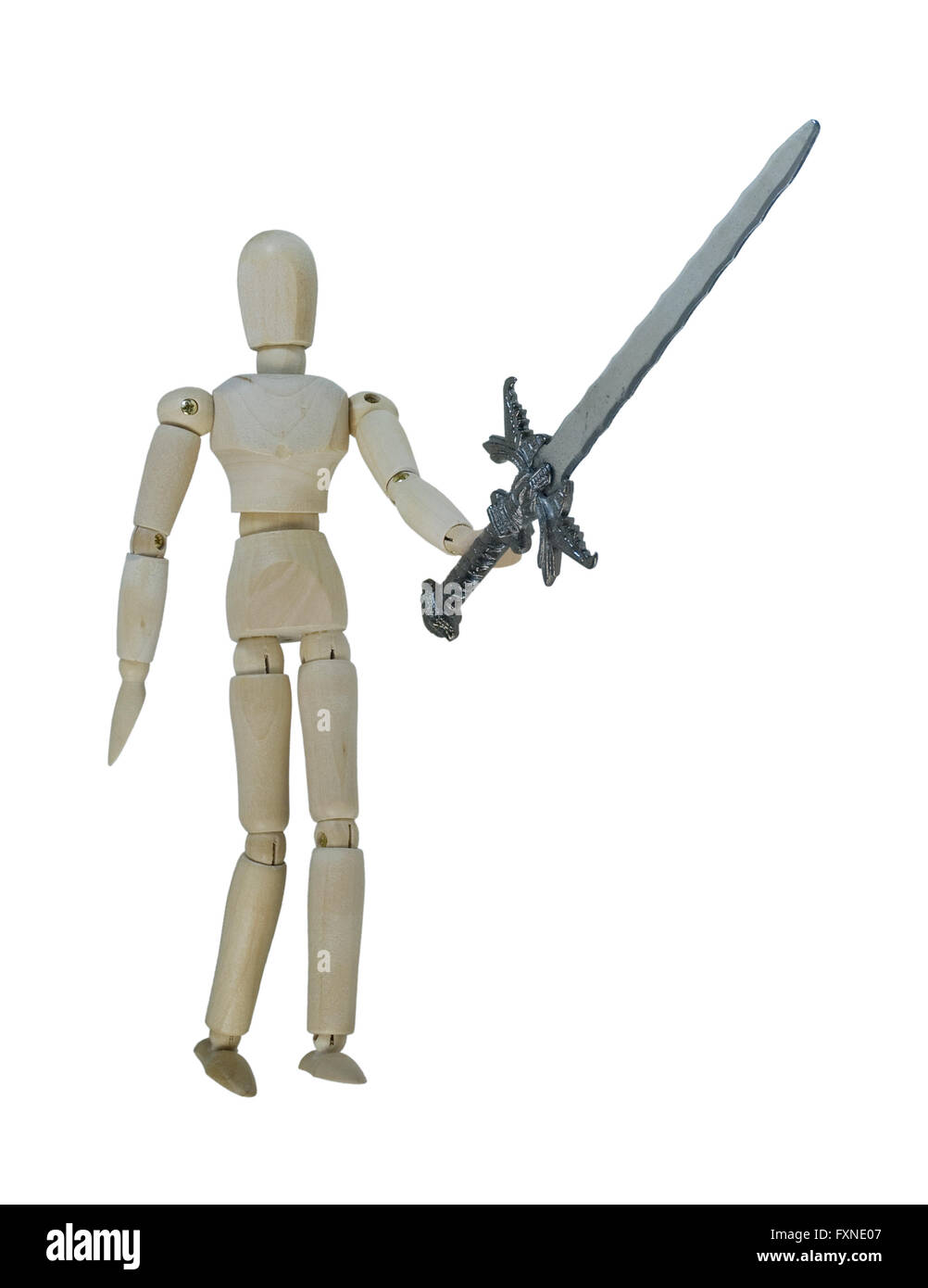 Man holding up a heavy sword - path included - Stock Image