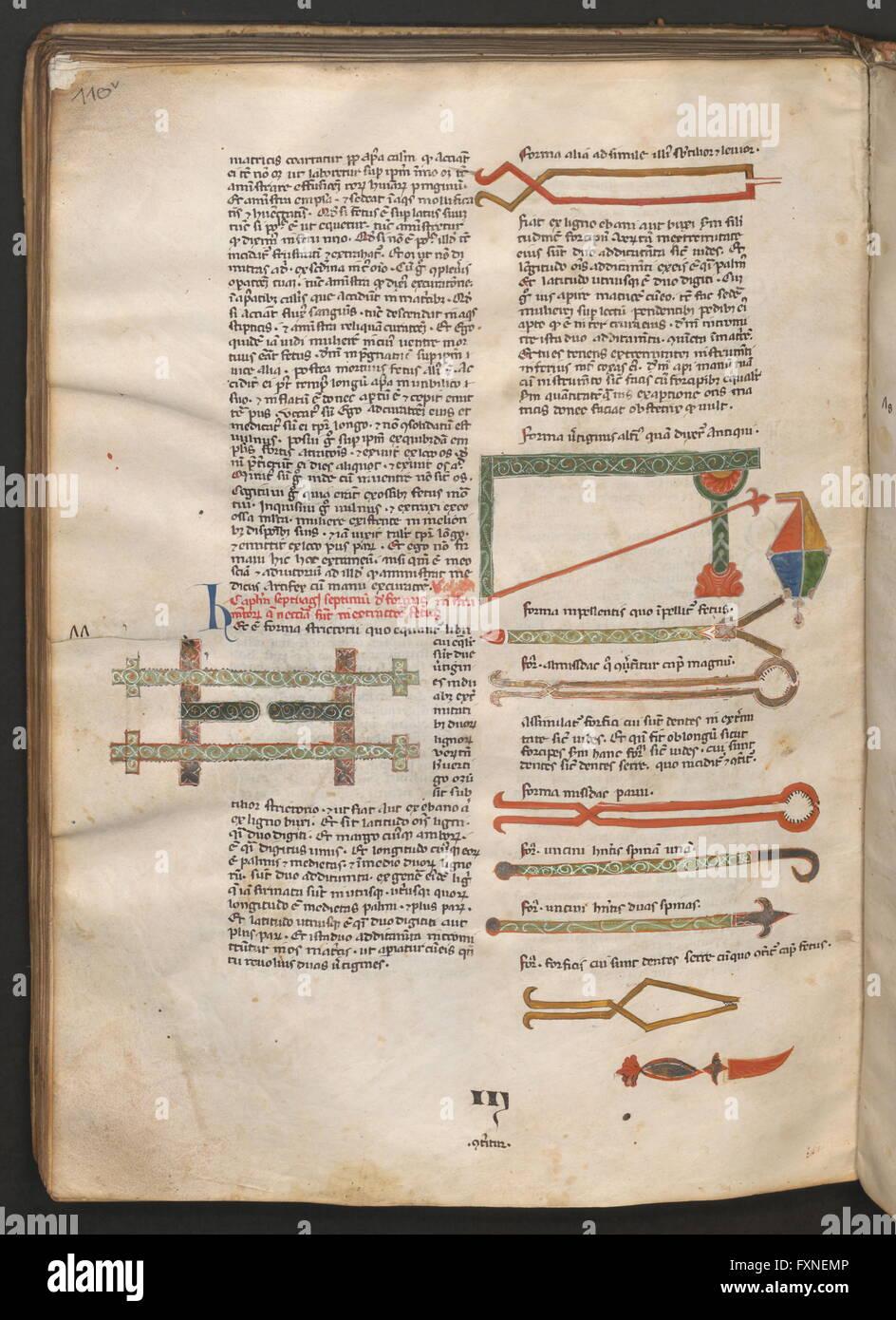 Cod. 2301, fol. 110v: Medizinische Sammelhandschrift: Text und Abbildungen chirurgischer Instrumente - Stock Image