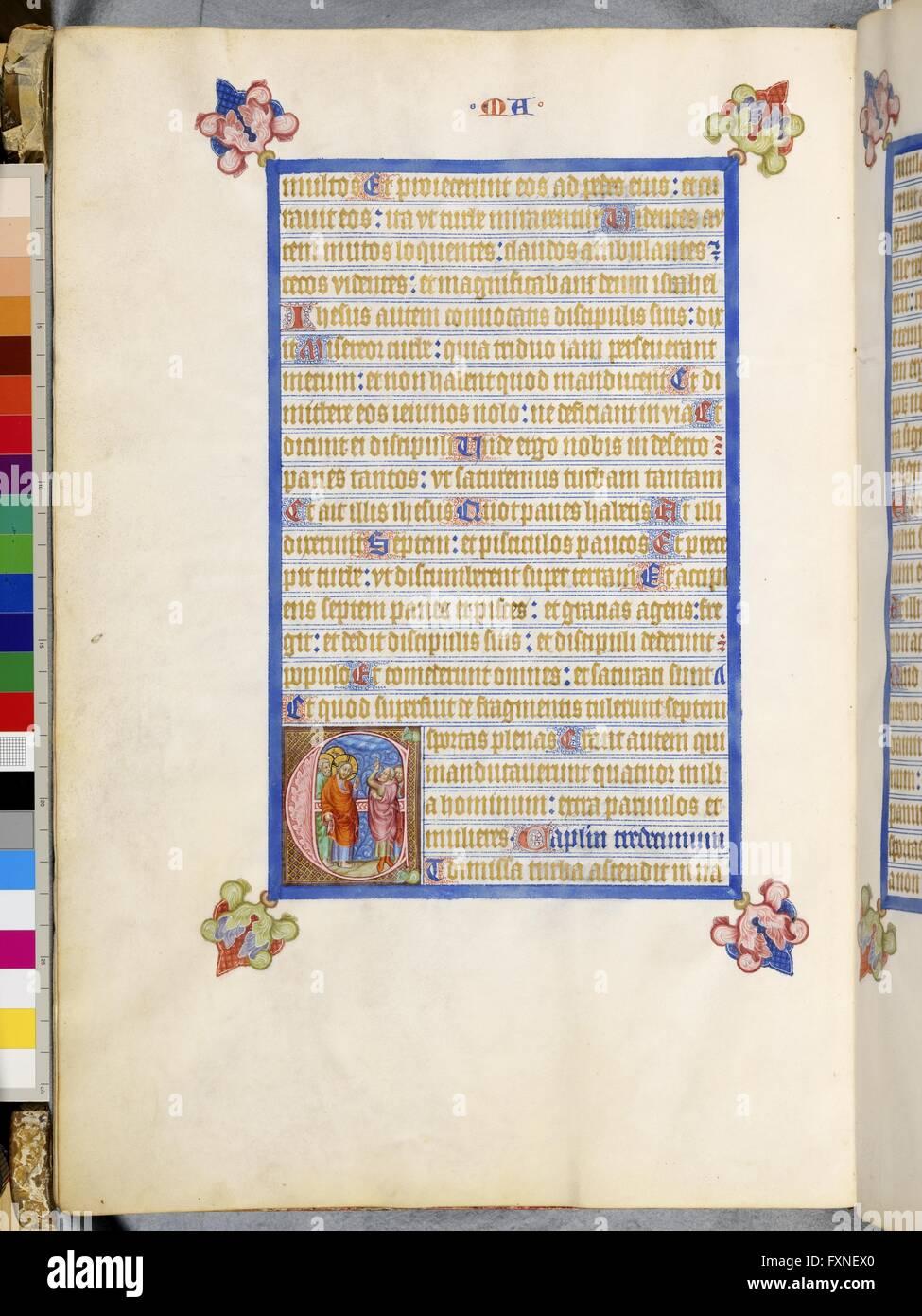 Cod. 1182, fol. 27v: Evangeliar des Johann von Troppau: Verweigerung eines Zeichens am Himmel Stock Photo