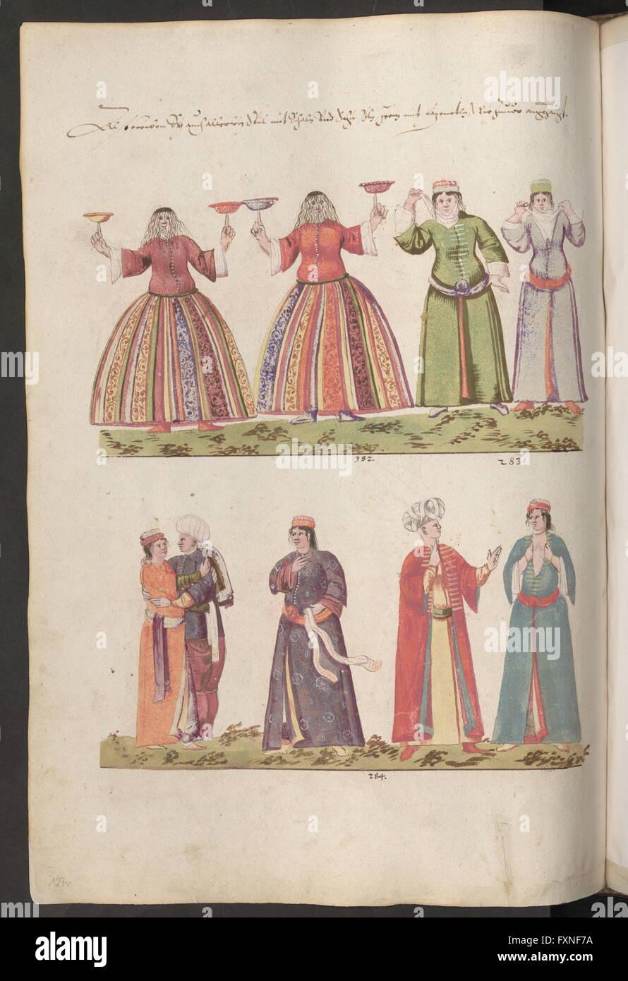 Cod. 8615, Fol. 127v: Johannes Lewenklau: Bilder türkischer Herrscher, Soldaten, Hofleute, Städte u. a.: - Stock Image