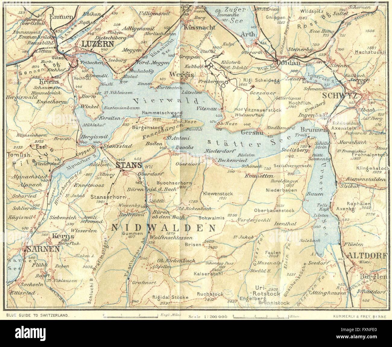 Switzerland Europe Maps Spiez-interlaken 1923 Old Vintage Map Plan Chart