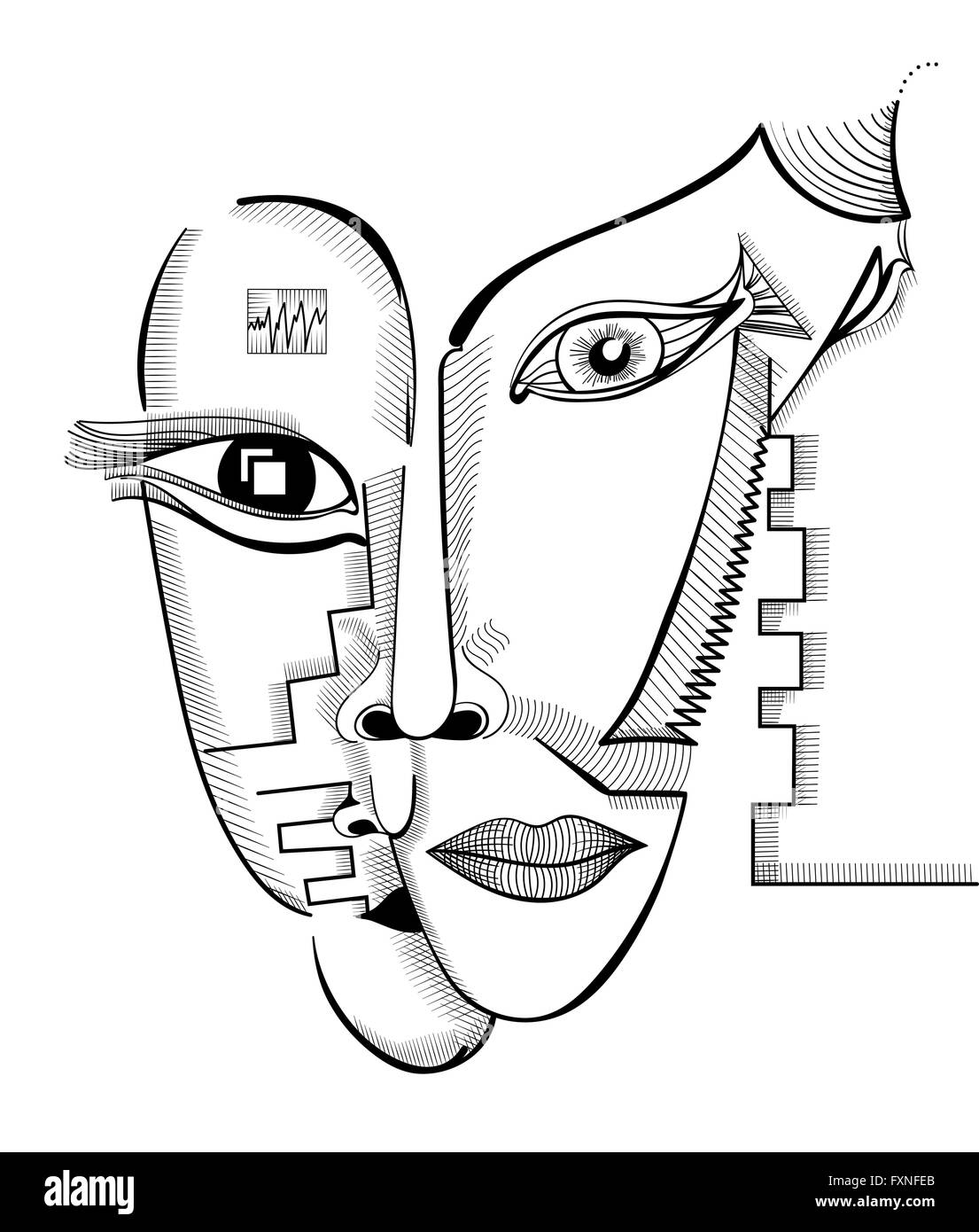 Hand Drawing Faces In Cubism Style Abstract Surreal Vector