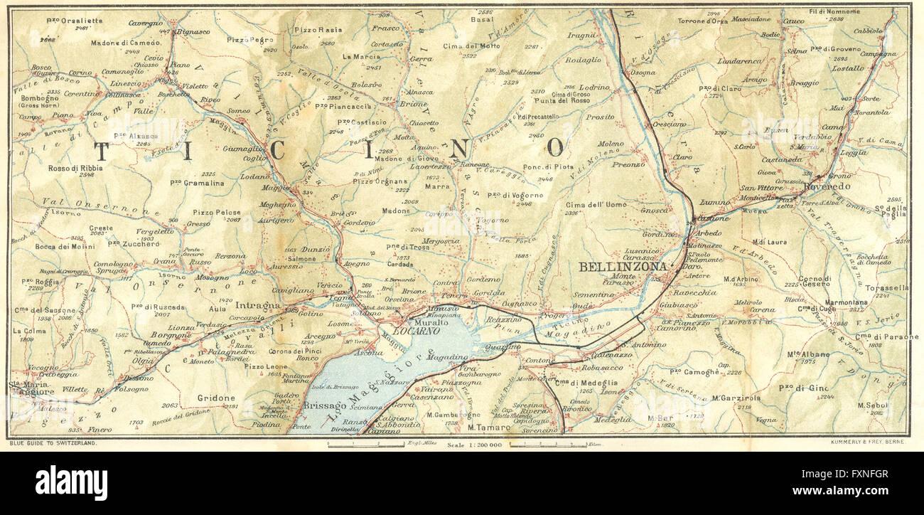 TICINO: Val Maggia-Locarno-Bellinzona, 1923 vintage map Stock Photo ...