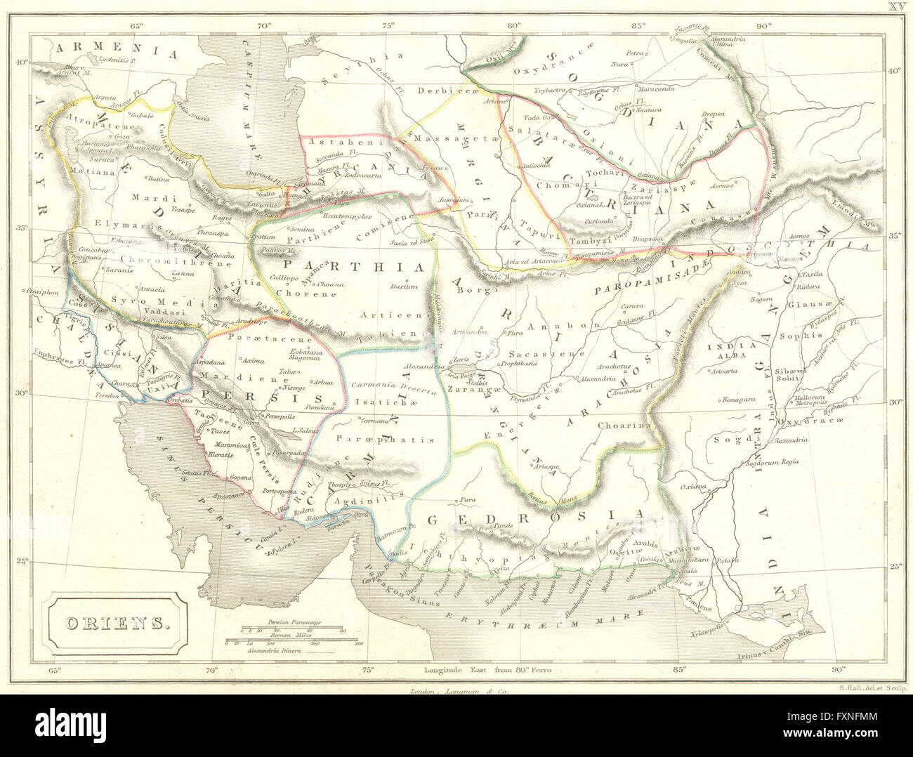 asia oriens iraq iran pakistan 1847 antique map stock image