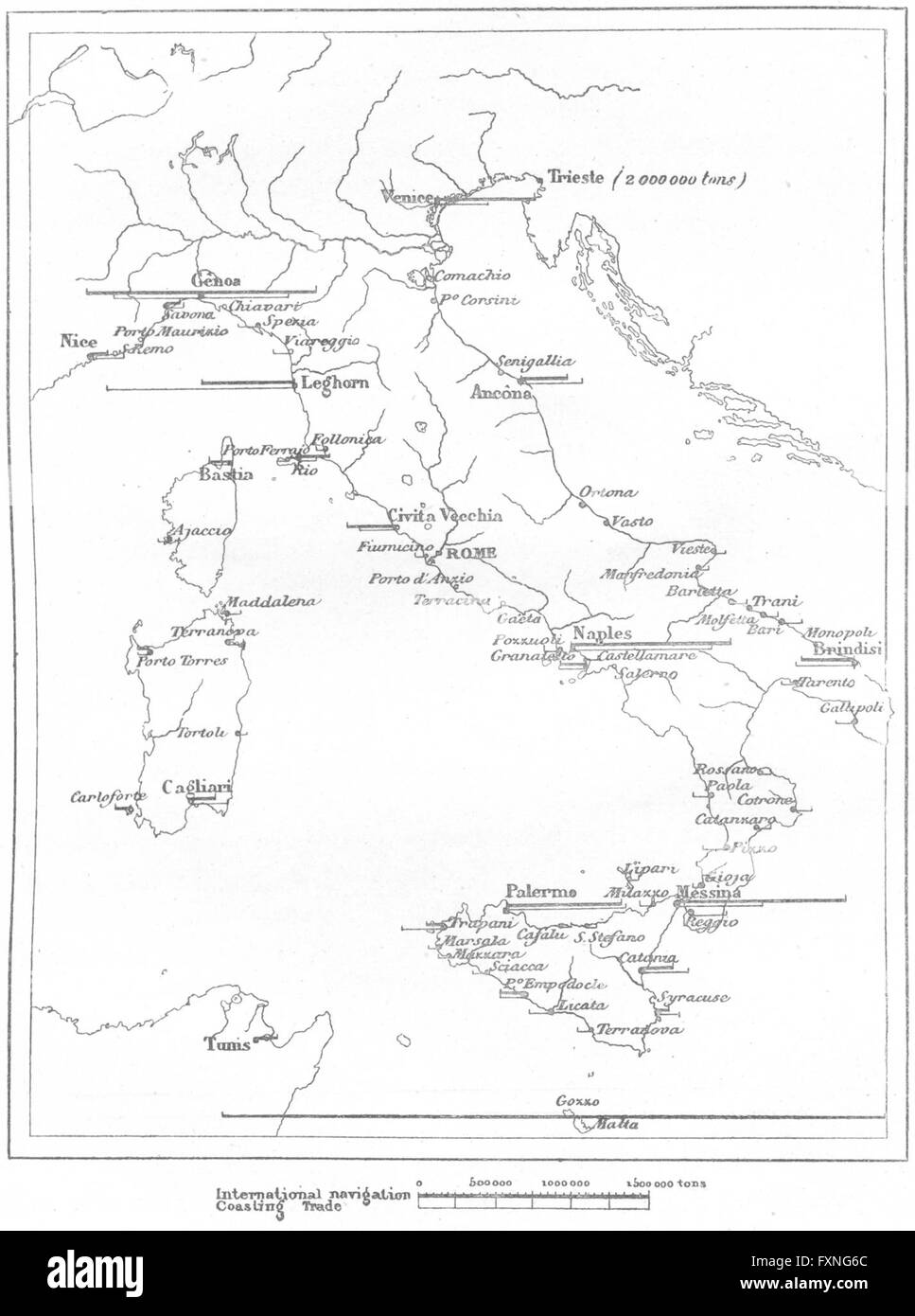 ITALY: Navigation of, sketch map, c1885 - Stock Image