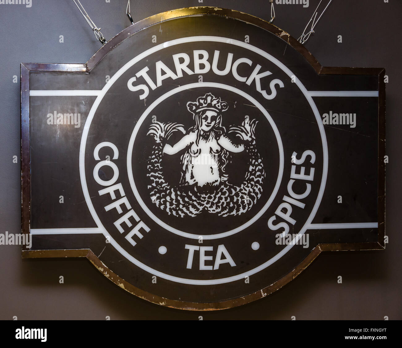 Original Logo And Sign For Starbucks Coffe At The Starbucks