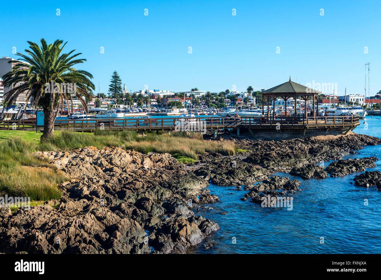 Maldonado, April, 14, 2016 - Yachts of the rich people in Punta del Este harbor, Uruguay - Stock Image