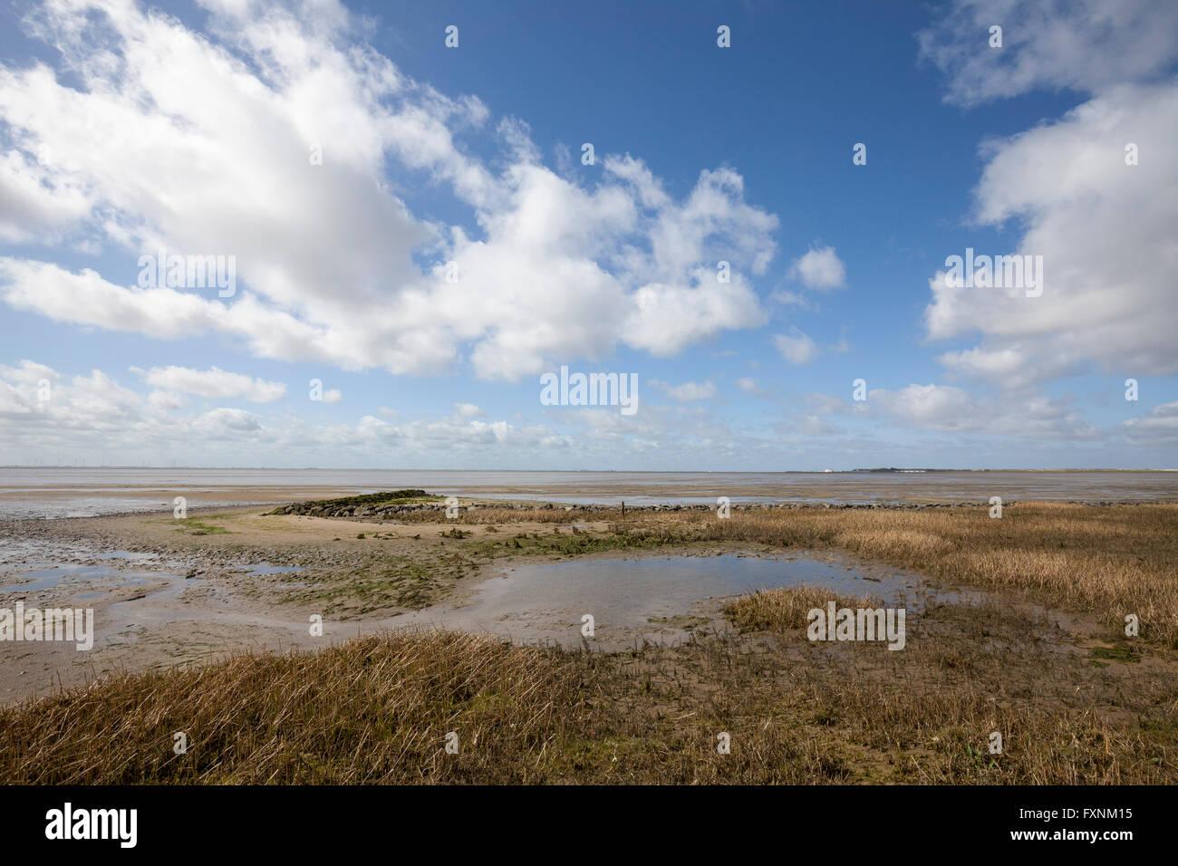 Beach, Lower Saxon Wadden Sea National Park, Wangerooge, East Frisian Island, East Frisia, Lower Saxony, Germany Stock Photo