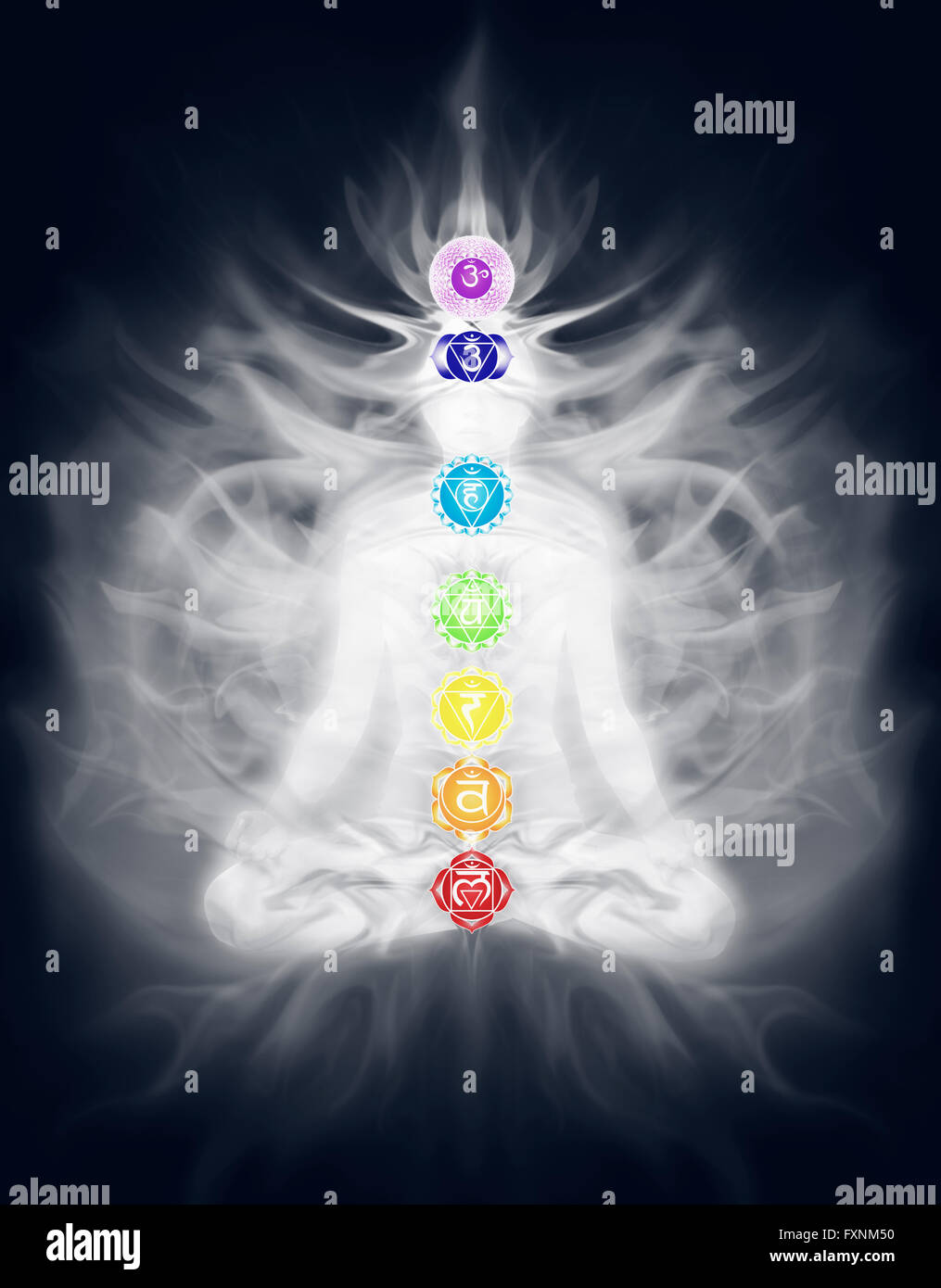 Woman in lotus pose with seven chakra symbols and energy emanating from her body, illustration - Stock Image