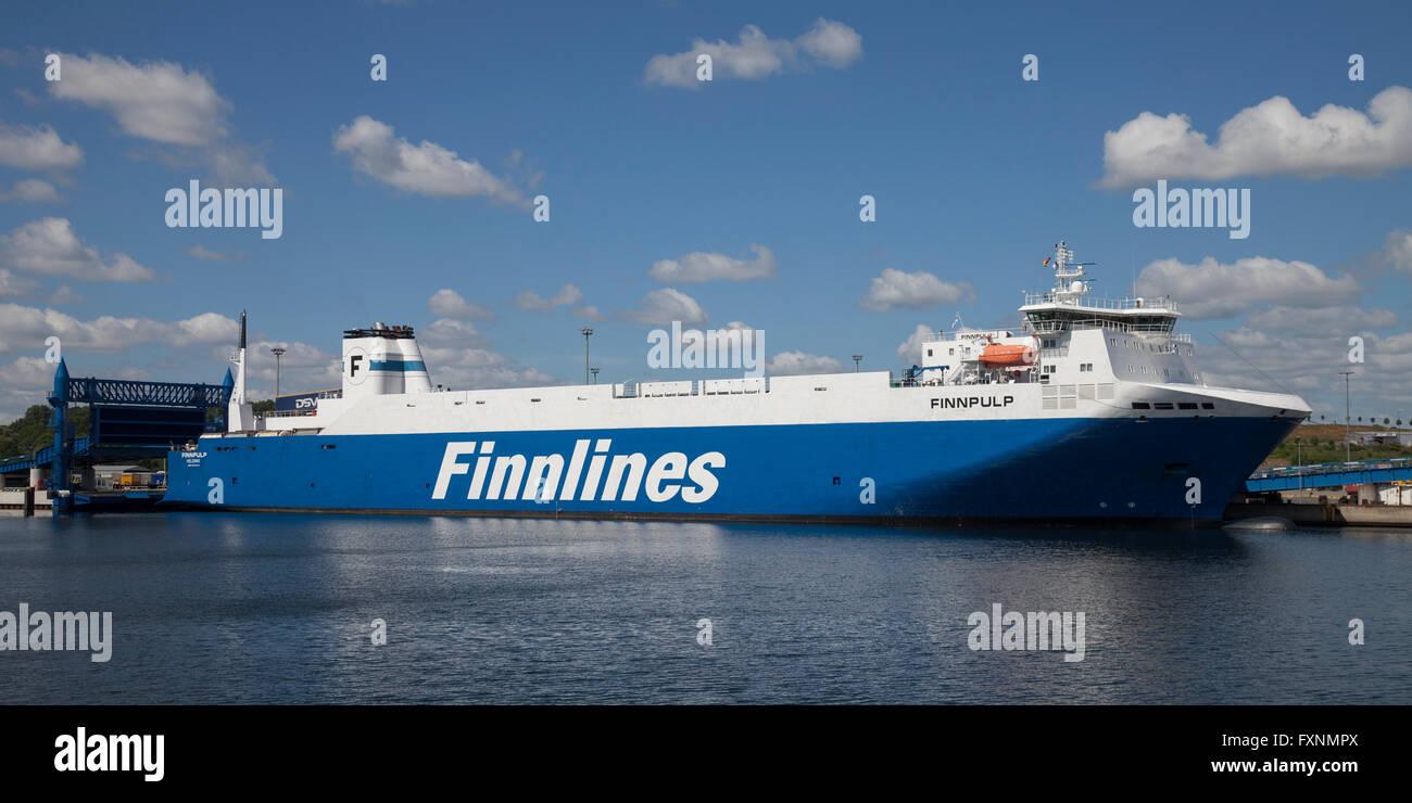 Finnlines ferry on the Skandinavienkai, Travemünde, Lübeck, Schleswig-Holstein, Germany - Stock Image