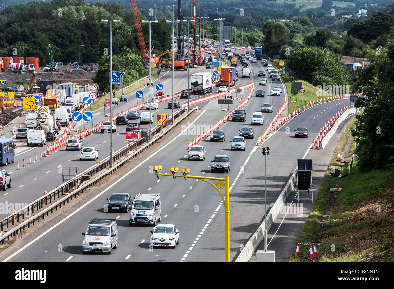 Average Speed Cameras in roadworks on M74 - Stock Image