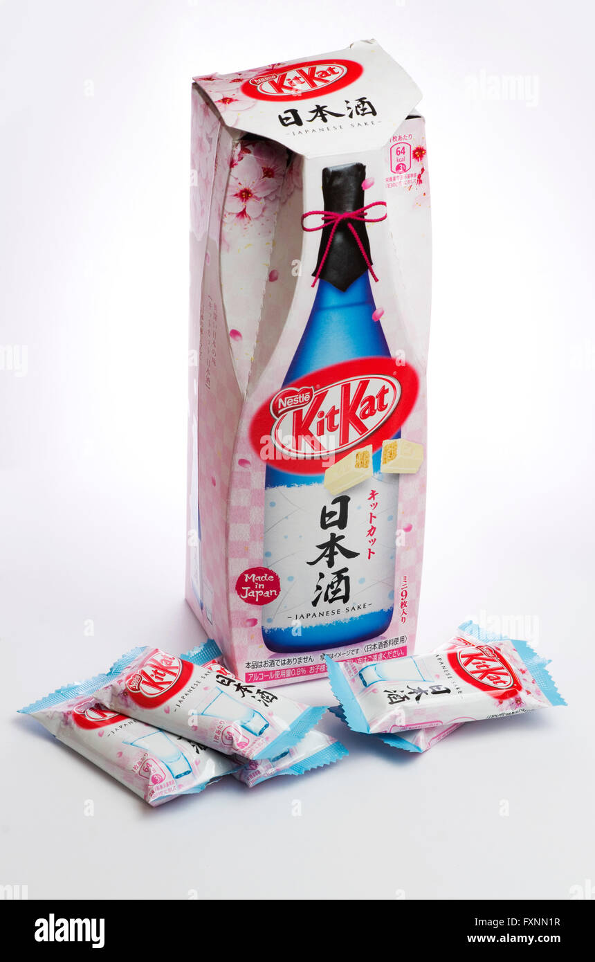 Unusual Japanese Kitkat flavours. This is Sake (rice wine), showing the box in a bottle shape. - Stock Image