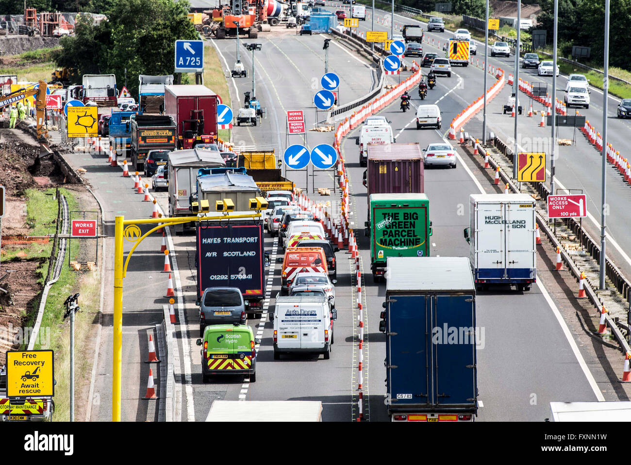 Average Speed Cameras in roadworks on M74 Stock Photo