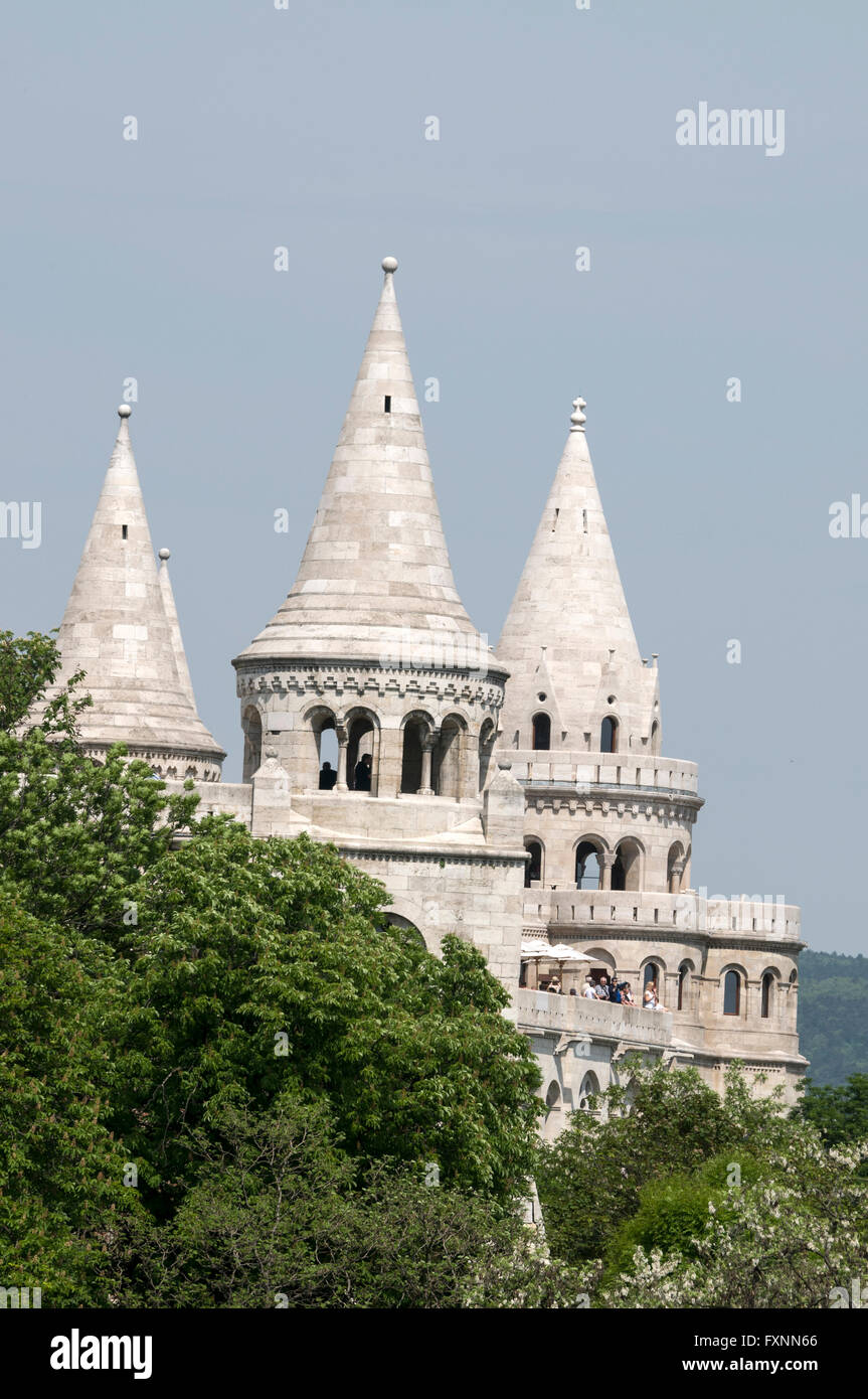 The Halászbástya or Fisherman's Bastion with its towers, is a terrace in neo-Gothic and neo-Romanesque - Stock Image