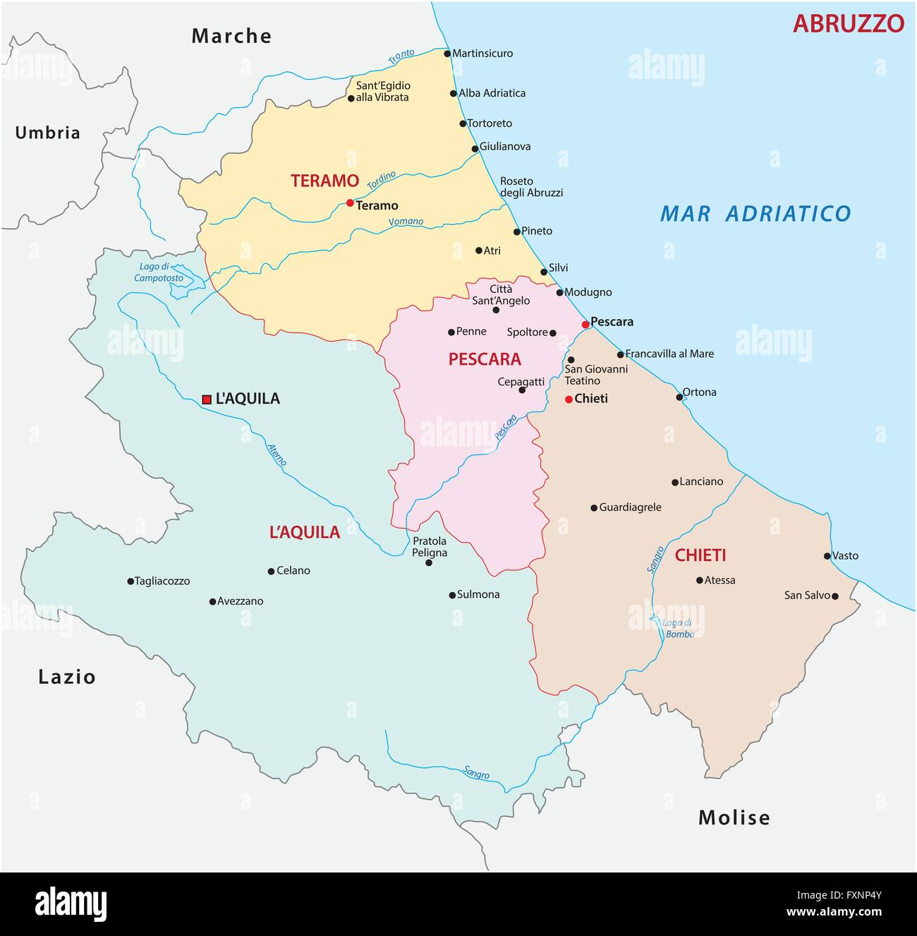 abruzzo administrative map, Italy - Stock Image