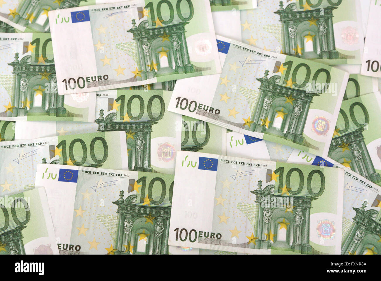 Many hundred euro notes Stock Photo