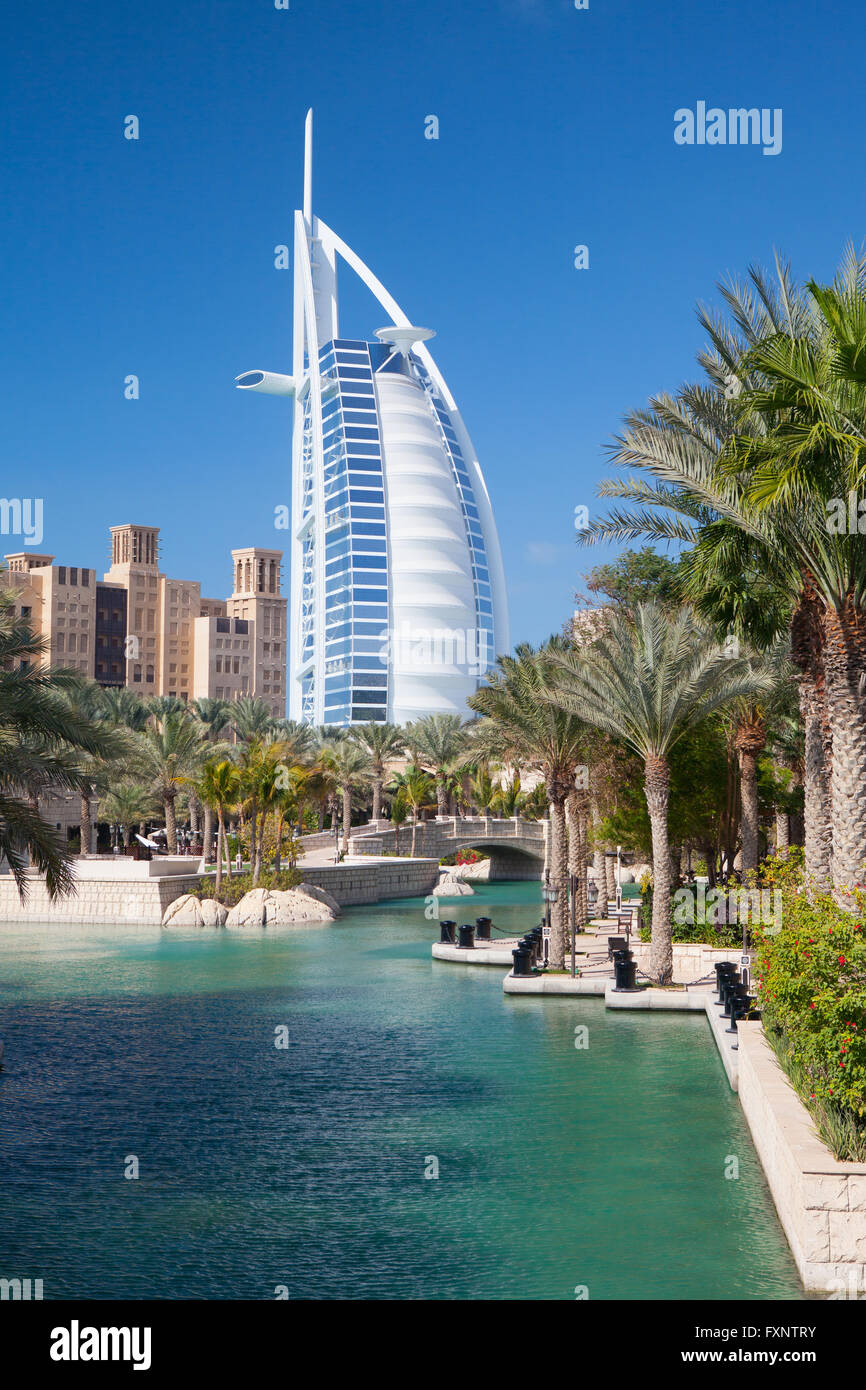 Dubai, UAE - January 31,2012:  Burj Al Arab hotel in Dubai. Burj Al Arab is a luxury 7 stars hotel. - Stock Image