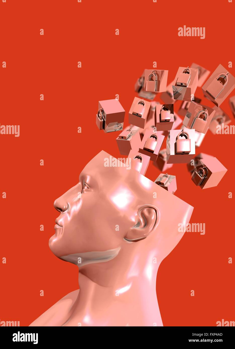 The secrets of the mind, conceptual illustration. - Stock Image