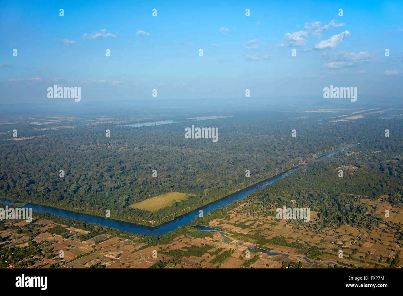 Ancient moat around Angkor Thom temple site, Angkor World Heritage Site, near Siem Reap, Cambodia - aerial - Stock Image