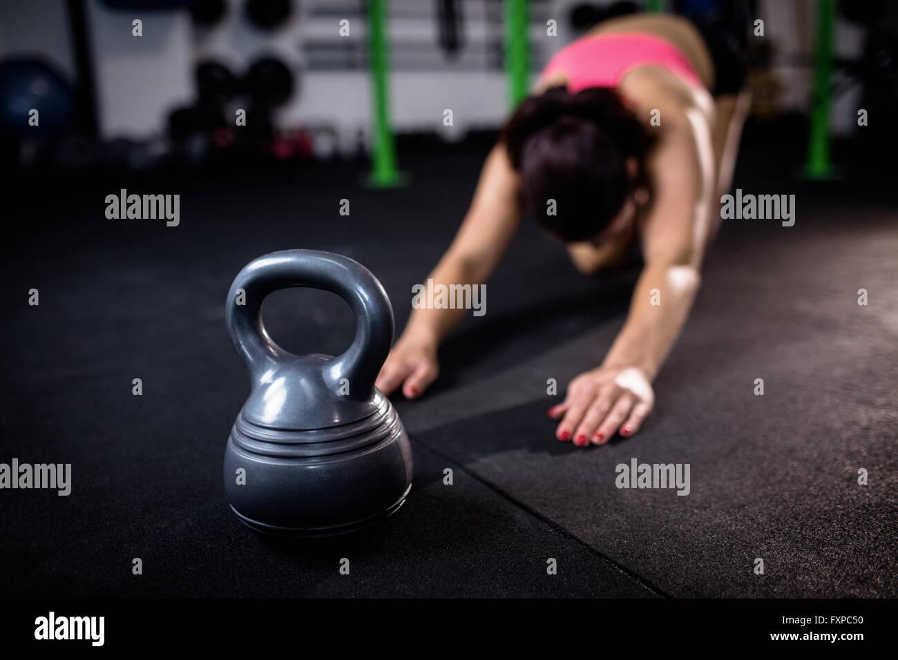 Black kettlebell in gym - Stock Image