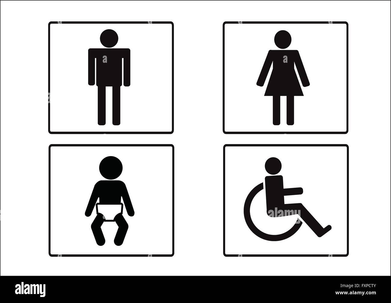 Restroom Symbol Icon Of Man Woman Disability And Child Stock Vector