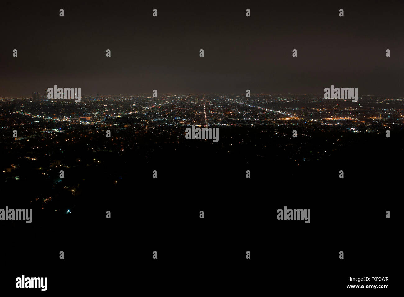 View of city lights at night, Los Angeles, California, USA - Stock Image