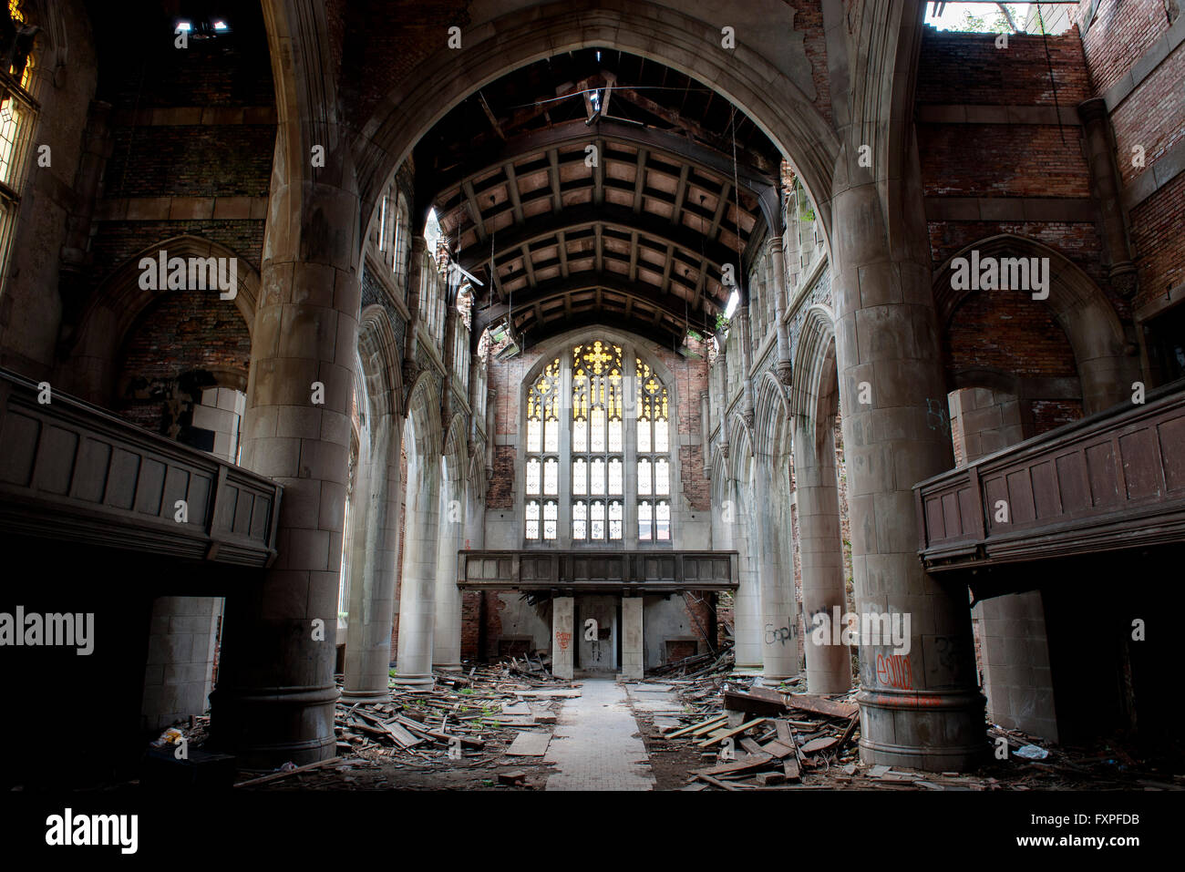 City Methodist Church, an abandoned gothic church in Gary, Indiana, USA Stock Photo