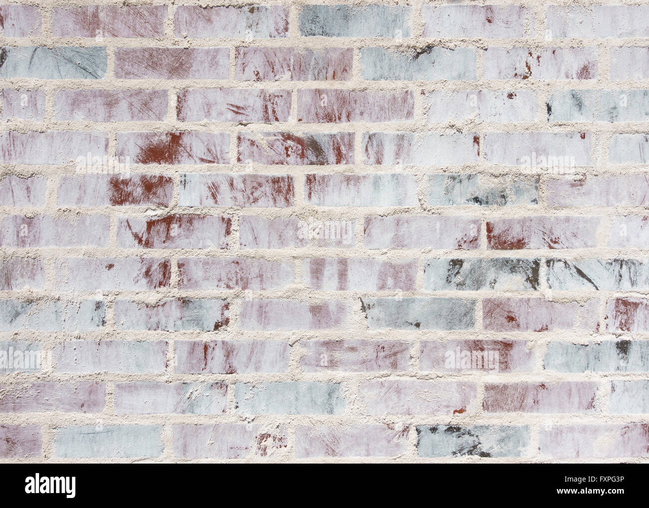 A whitewashed brick wall texture - Stock Image