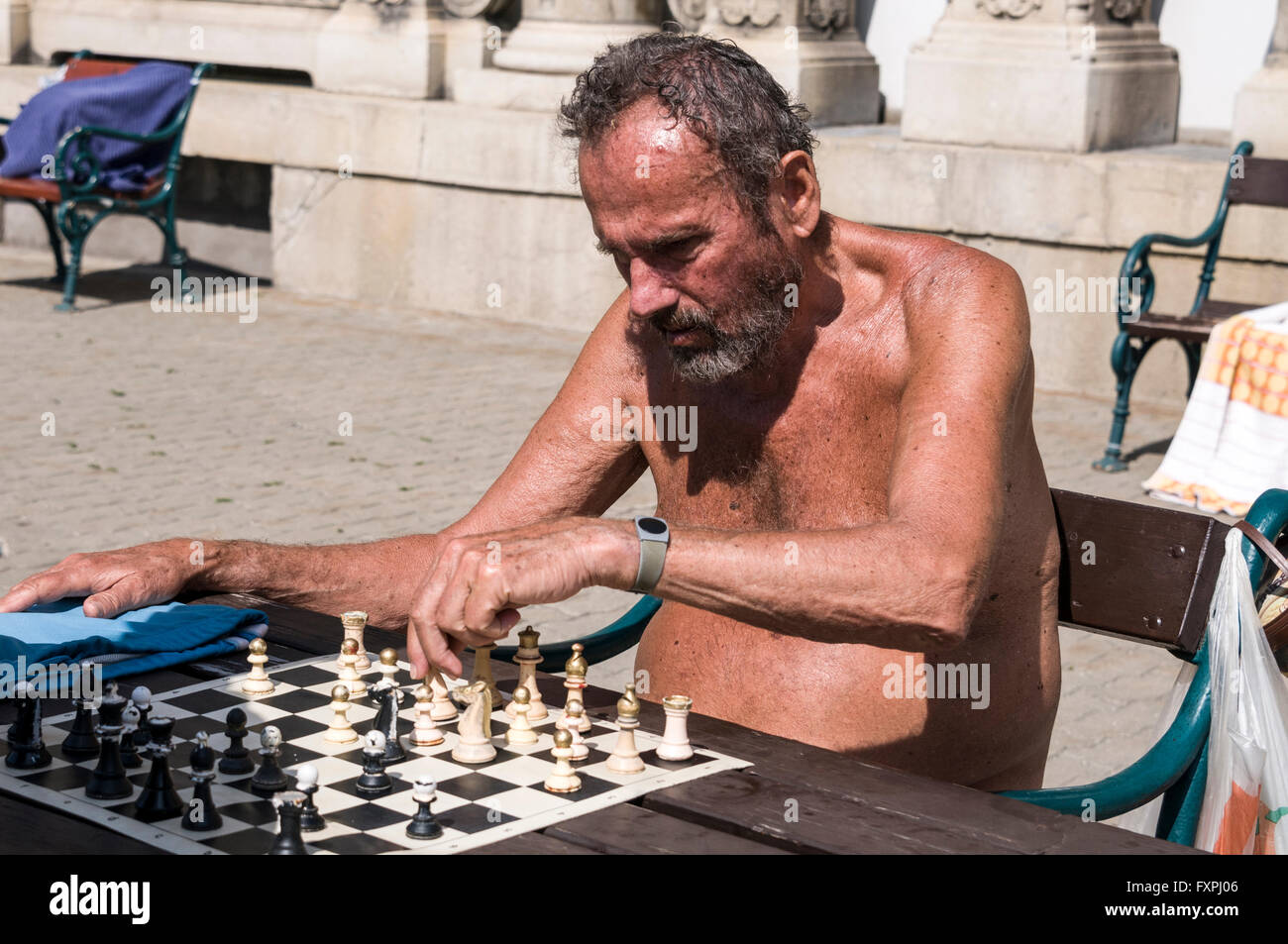 A game of chess  being played at the Szechenyi Spa and Swimming pool in City Park, Budapest,Hungary Stock Photo