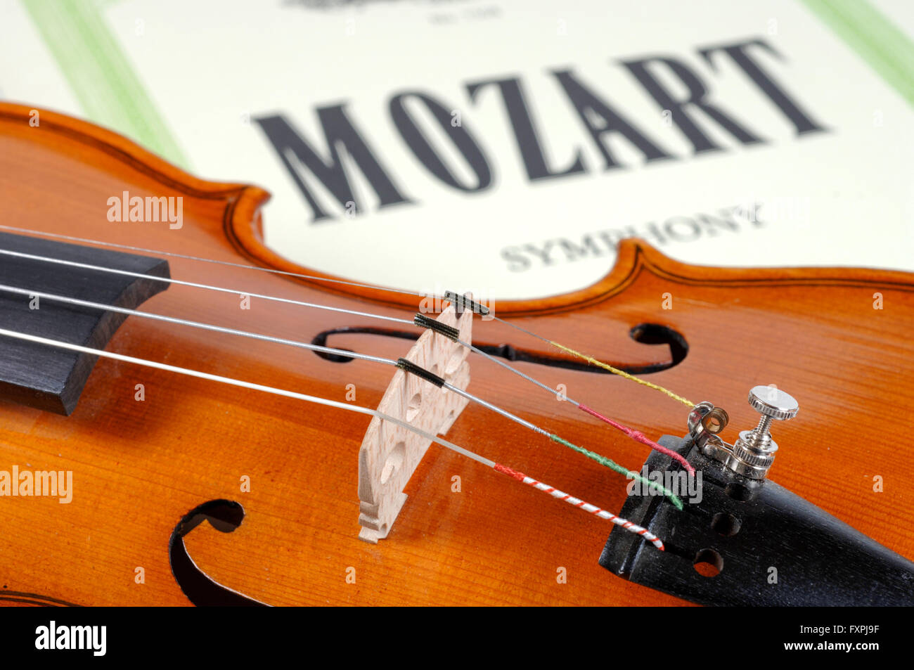 detail of violin as music instrument of orchestra - Stock Image