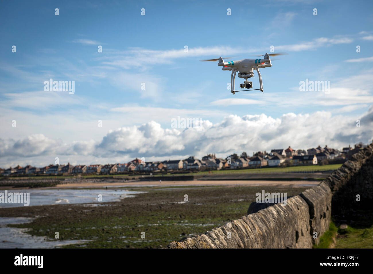 Drone filming over Morcambe Bay, Lancashire, UK - Stock Image