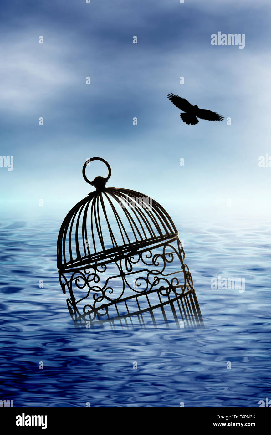 cage floating in the ocean a bird flying away - Stock Image