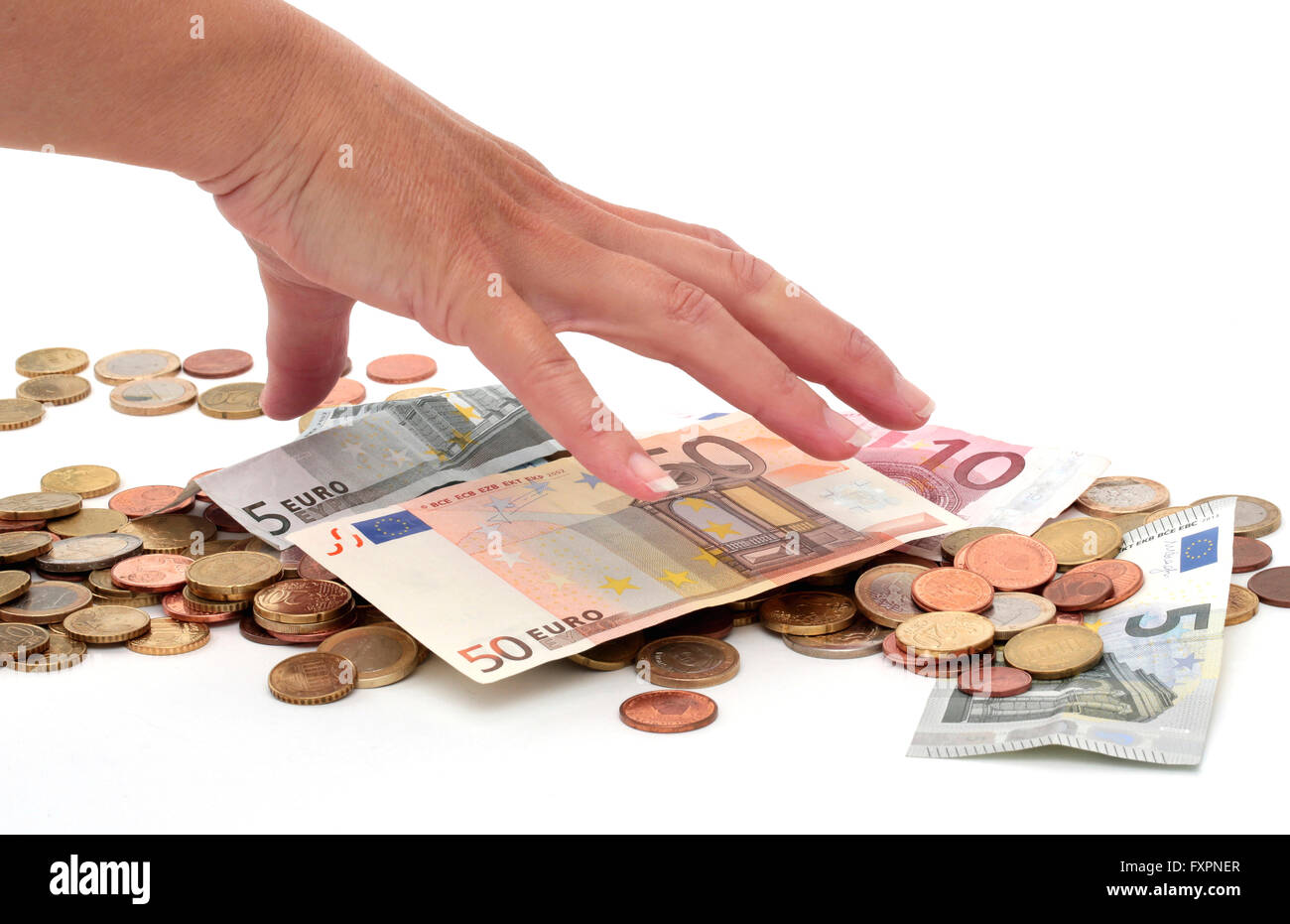 Grabbing money - Stock Image