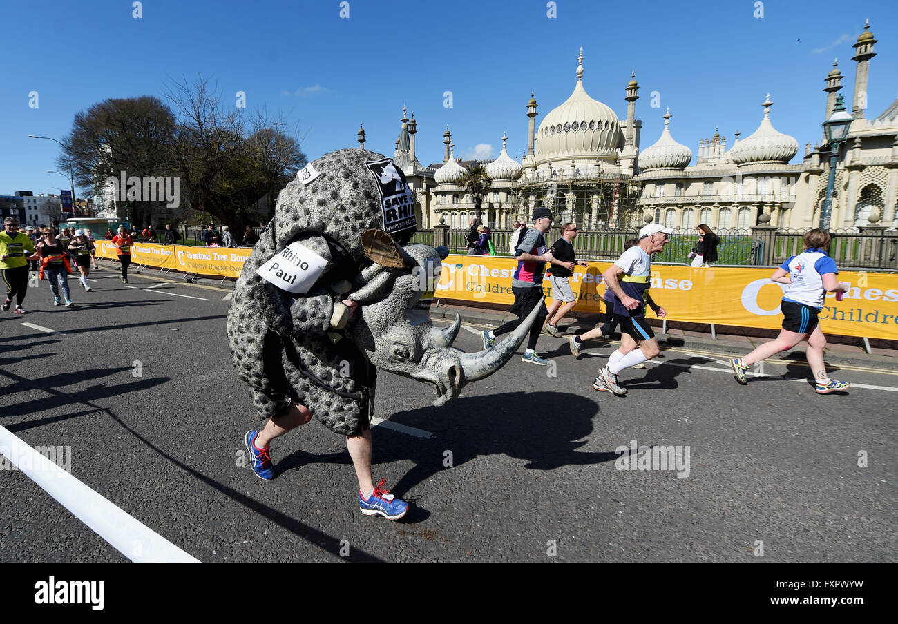 Brighton UK 17th April 2016 - A runner dressed as a Rhino passes by the Royal Pavilion during this years Brighton - Stock Image