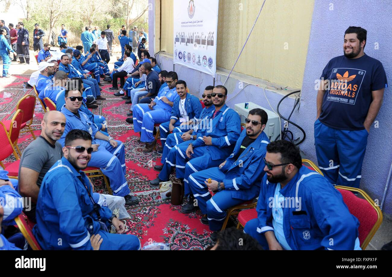 Kuwait City, Kuwait. 17th Apr, 2016. Kuwaiti oil workers hold strike at the oil workers union headquarters in Al - Stock Image