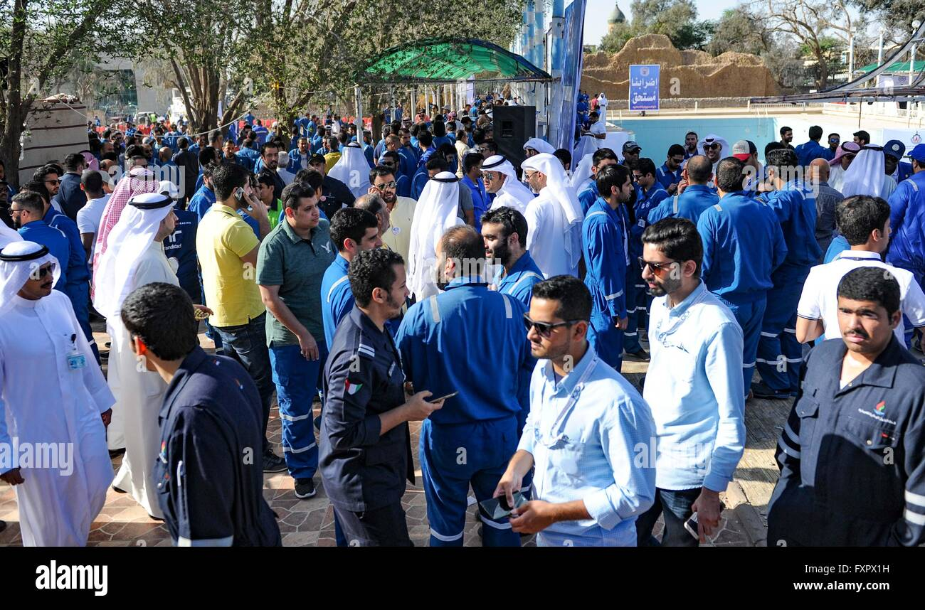 Kuwait City, Kuwait city. 17th Apr, 2016. Kuwaiti oil workers hold strike at the oil workers union headquarters - Stock Image