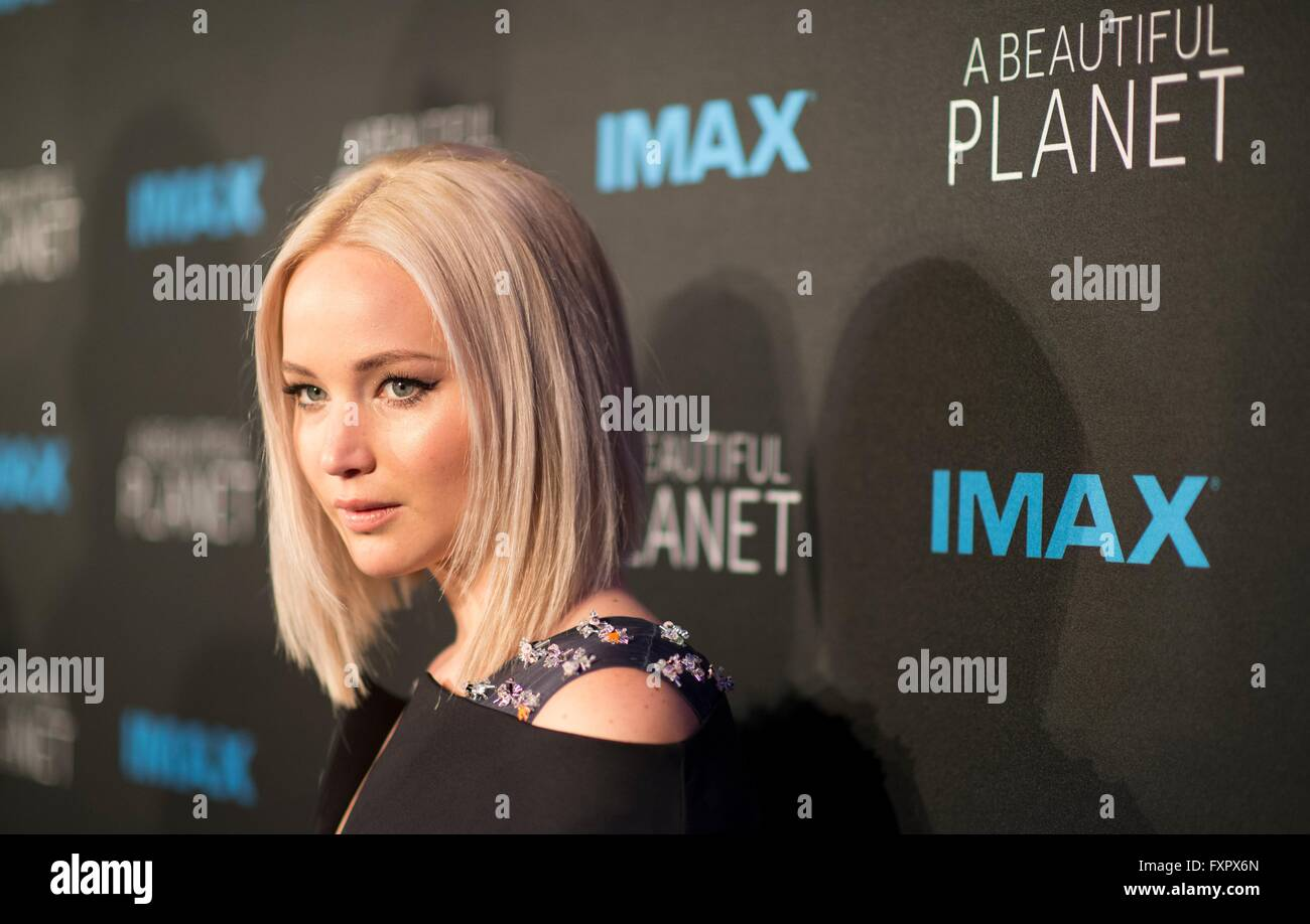 New York, USA. 16th Apr, 2016. Actress Jennifer Lawrence attends the world Premiere of the IMAX film A Beautiful - Stock Image
