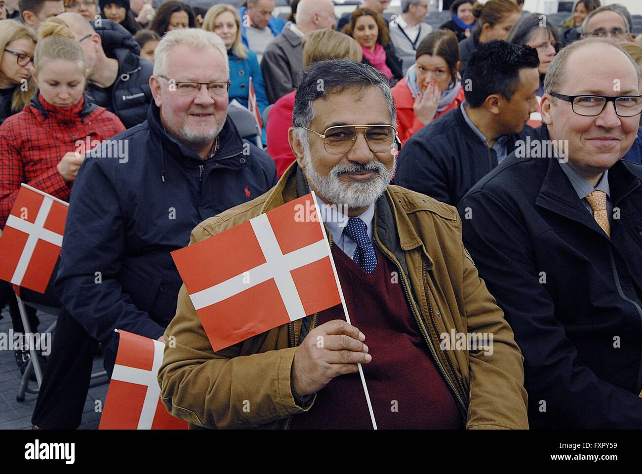 Copenhagen, Denmark. 17th April, 2016. Syed Tauqir Hassan Bokari from Pakistan punjab province celebrates his danish - Stock Image