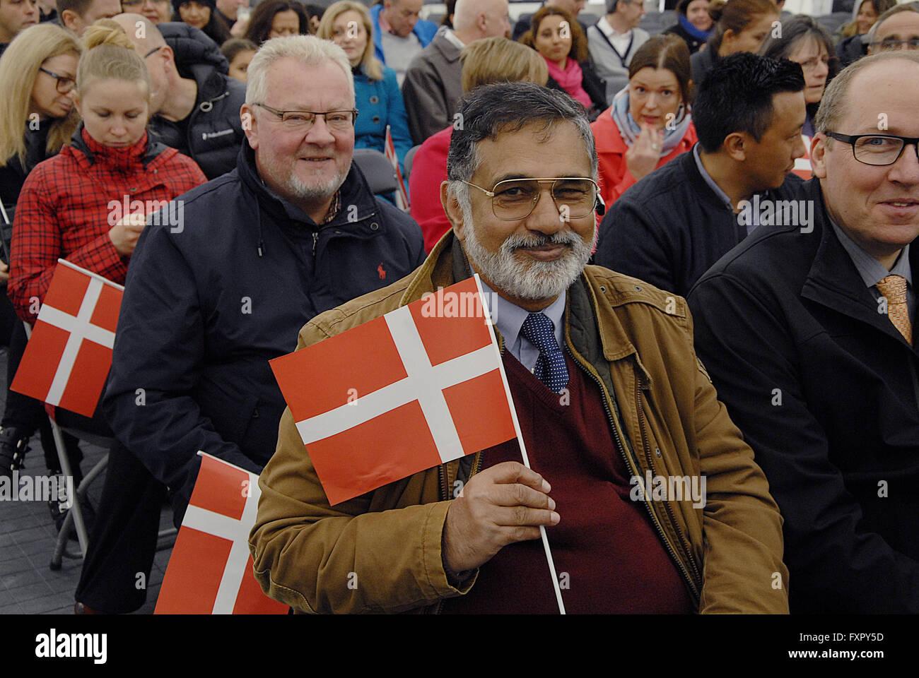 Copenhagen, Denmark. 17th April, 2016. Syed Tauqir Hassan Bokari from Pakistan punjab province celebrates his danish - Stock Image