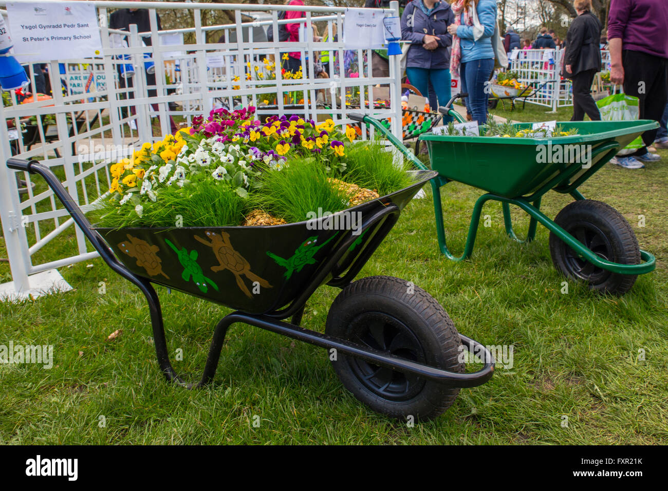 The Royal Horticultural Society show in Cardiff, 17th April 2016. Thousands of people flocked to see the exhibitions, - Stock Image