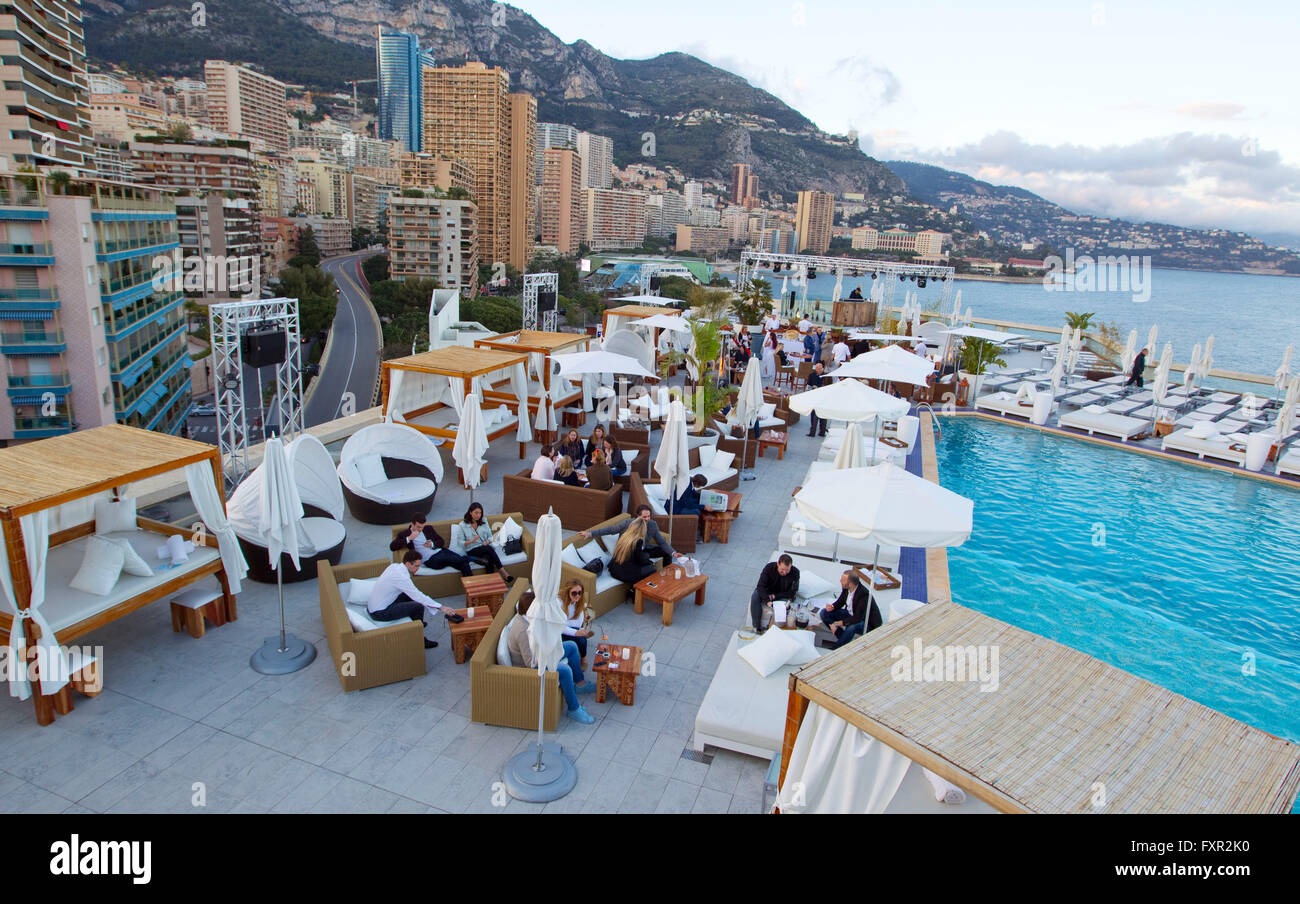 monaco april 15 2016 nikki beach at fairmont monte carlo stock photo 102539892 alamy. Black Bedroom Furniture Sets. Home Design Ideas