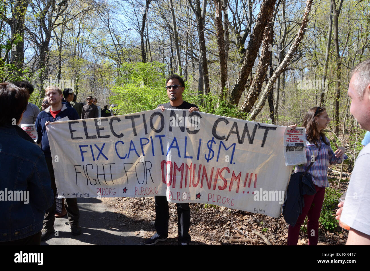 Brooklyn, New York, USA. 17th April, 2016. communists with banner Bernie Sanders Prospect Park Brooklyn april 17th - Stock Image