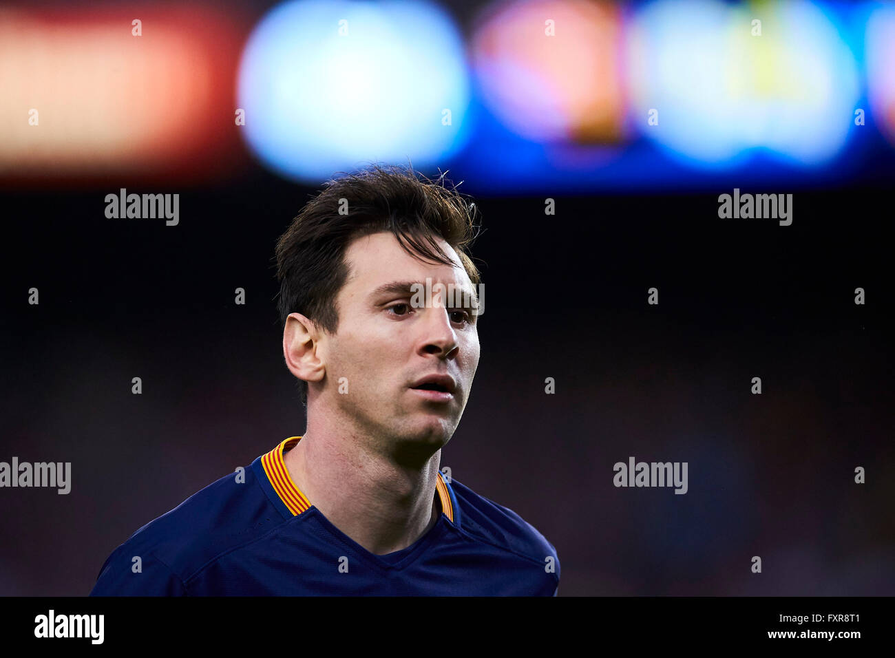 Lionel Messi (FC Barcelona), during La Liga soccer match between FC Barcelona and Valencia CF, at the Camp Nou stadium - Stock Image