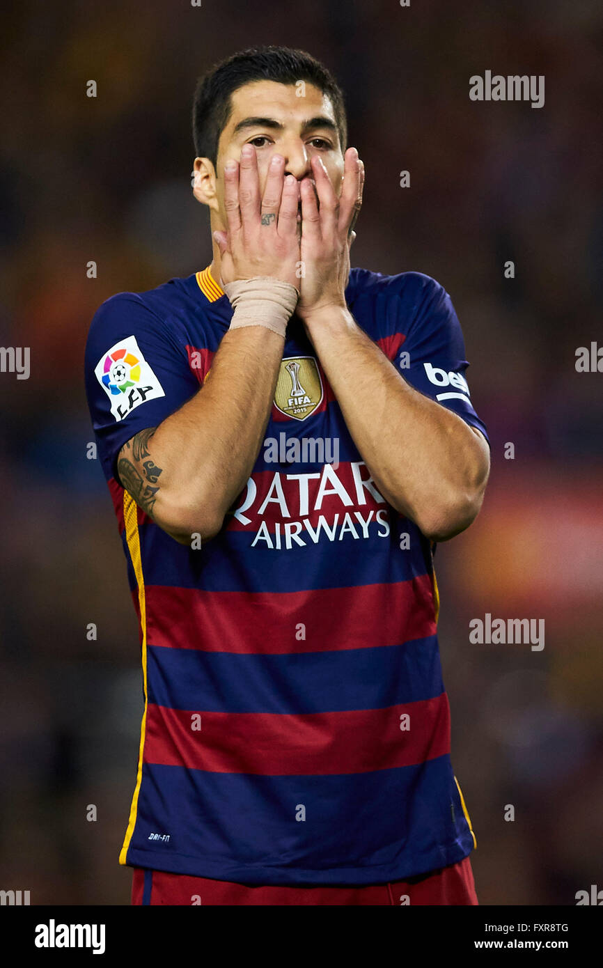 Luis Suarez (FC Barcelona), during La Liga soccer match between FC Barcelona and Valencia CF, at the Camp Nou stadium - Stock Image