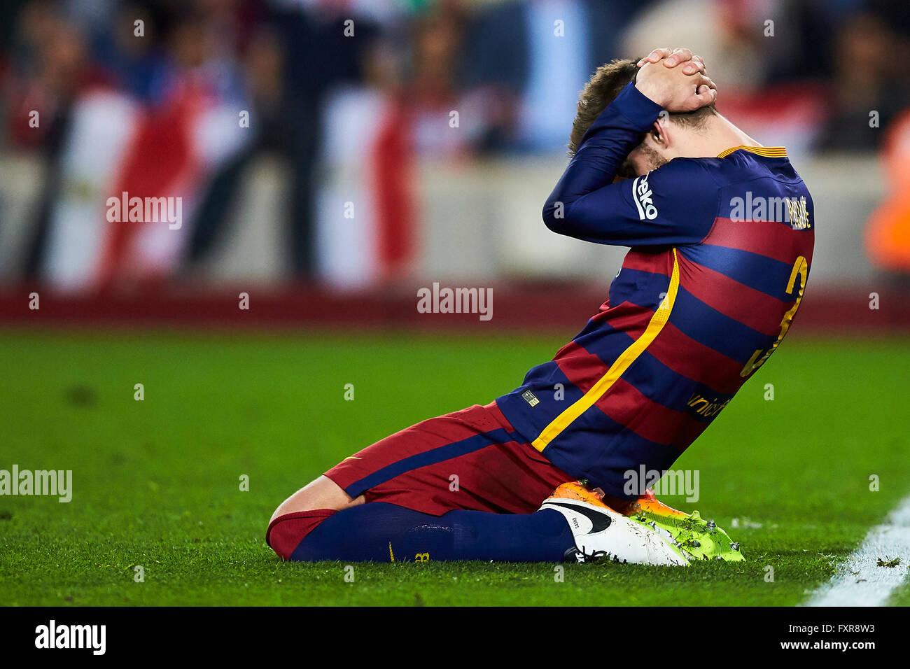 Gerard Pique (FC Barcelona), during La Liga soccer match between FC Barcelona and Valencia CF, at the Camp Nou stadium - Stock Image